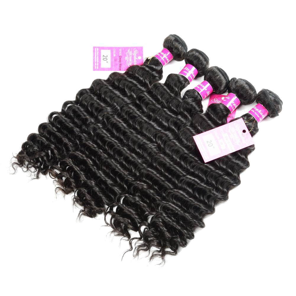 Deep Wave Human Hair Weave Bundles Deals 10