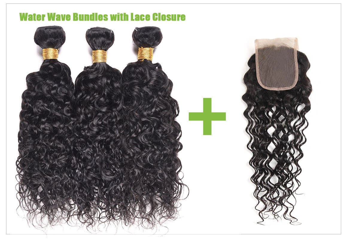 Water Wave Hair Weave Bundles With Lace Closure Deals 1