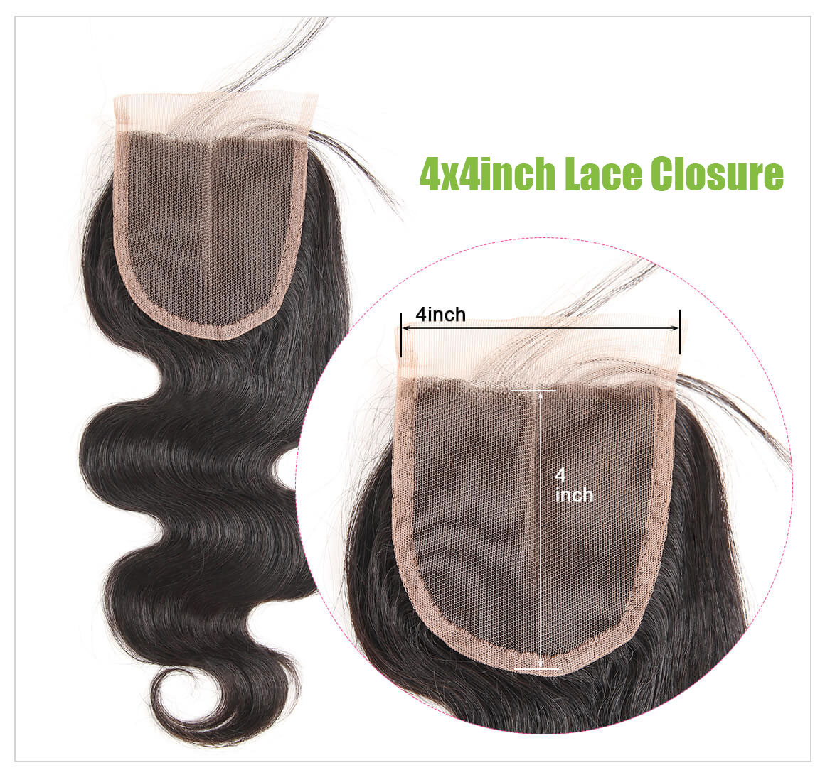 body wave hair lace closure