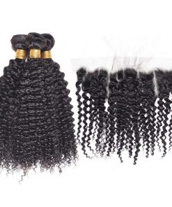 curly weave hair bundles with lace frontal