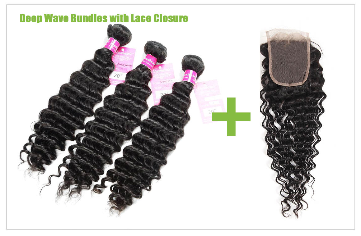 deep wave human hair bundles with lace closure 1