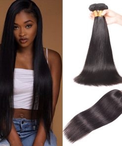 Brazilian Straight Hair 3 Bundles With Lace Closure Virgin Human Hair