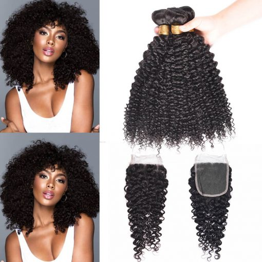 Brazilian Curly Weave Hair 3 Bundles With Closure