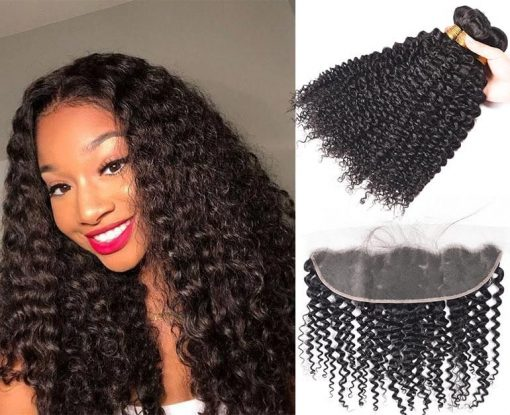 Brazilian Curly Weave Virgin Human Hair 3 Bundles With Frontal