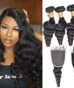 Brazilian Loose Wave Hair 4 Bundles Virgin Human Hair With Closure