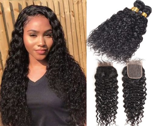 Brazilian Water Wave Hair Weave 4 Bundles With Lace Closure Deals