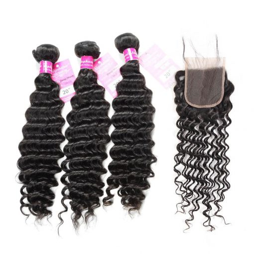 Deep Wave 3 Bundles Human Hair With lace Closure