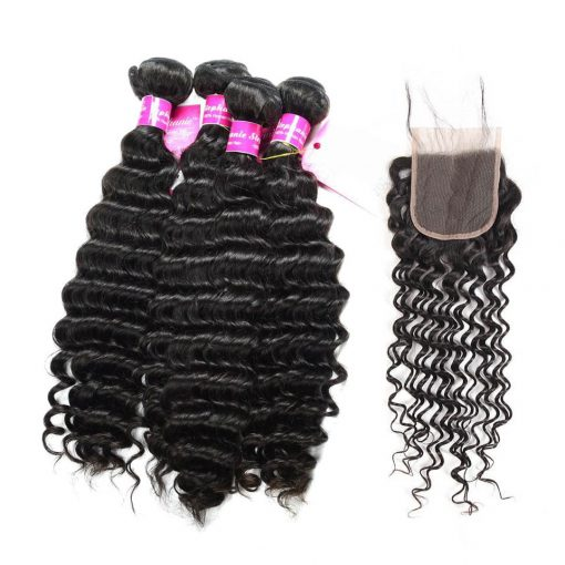 Deep Wave Bundles Human Hair With lace Closure