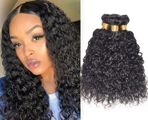Indian Water Wave Hair Human Hair Weave Bundles Deals