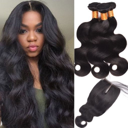 Peruvian Body Wave Hair 3 Bundles With Lace Closure Virgin Human Hair