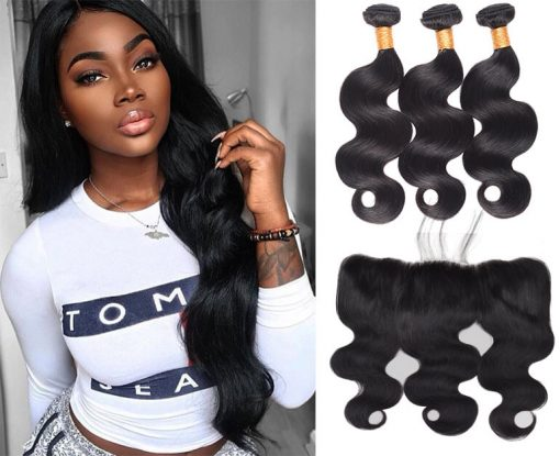 Peruvian Body Wave Hair 3 Bundles With Lace Frontal Virgin Human Hair