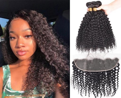 Peruvian Curly Wave Virgin Human Hair 3 Bundles With Frontal