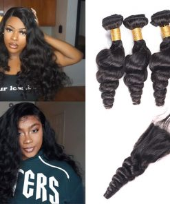 Peruvian Loose Wave Hair 4 Bundles Virgin Human Hair With Closure