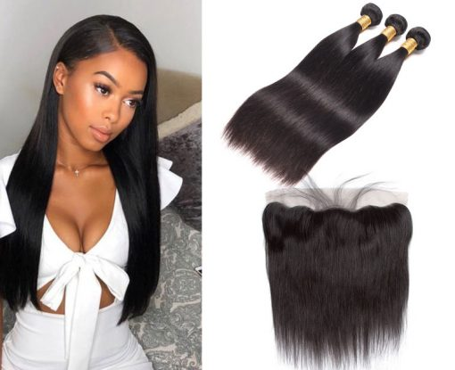 Peruvian Straight Hair 3 Bundles With Virgin Human Hair Lace Frontal