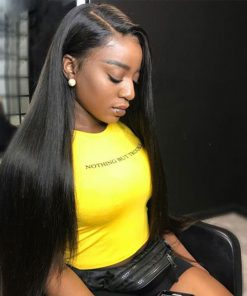 Peruvian Straight Hair 4 Bundles With Human Hair Lace Closure