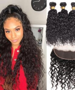 Peruvian Water Hair 4 Bundles With Lace Frontal Closure Deals