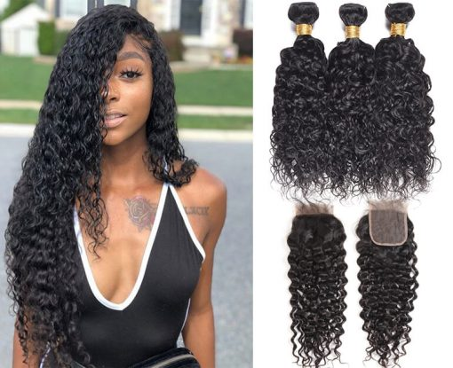 Peruvian Water Wave Hair Weave 3 Bundles With Lace Closure Deals