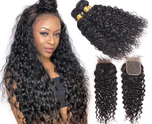 Peruvian Water Wave Hair Weave 4 Bundles With Lace Closure Deals