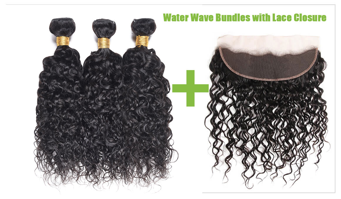 Water Wave Bundles With Lace Frontal