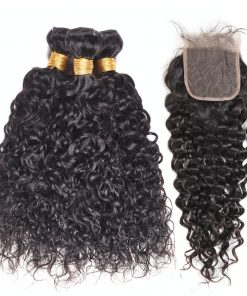 Water Wave Hair Weave 3 Bundles With Lace Closure 1