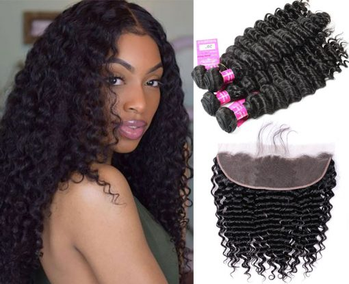 brazilian Deep wave Hair 4 Bundles With Lace Frontal