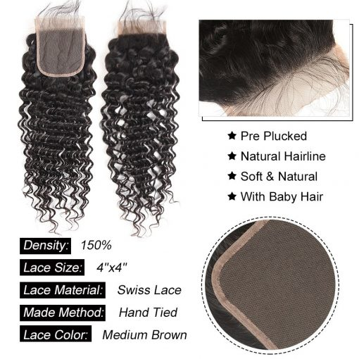 deep wave hair lace closure