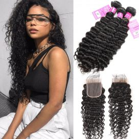 deep wave virgin human hair bundles with lace closure