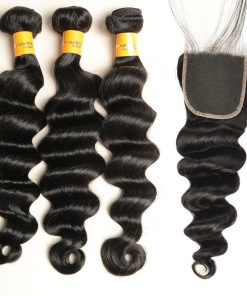 loose deep wave human hair bundles with lace closure