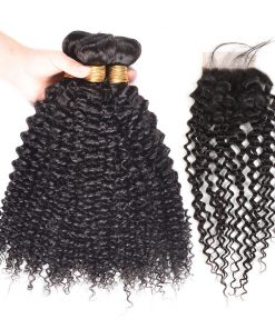 Curly Weave Virgin Human Hair Bundles With Closure