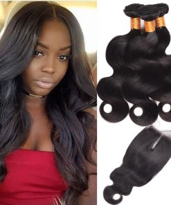 Indian Body Wave Hair 3 Bundles With Lace Closure
