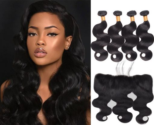 Indian Body Wave Hair 4 Bundles With Lace Frontal Virgin Human Hair