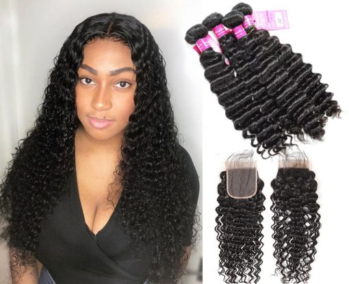 Indian Deep Wave 4 Bundles Human Hair With lace Closure
