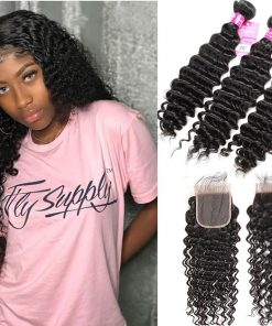Indian Deep Wave Hair 3 Bundles With Closure
