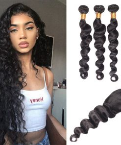 Indian Loose Deep Wave Hair 4 Bundles With Lace Closure