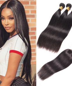 Indian Straight Hair 3 Bundles With Lace Closure Virgin Human Hair