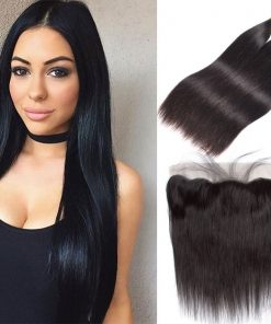 Indian Straight Hair 3 Bundles With Virgin Human Hair Lace Front
