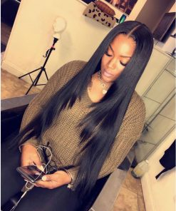Indian Straight Hair 4 Bundles With Human Hair Lace Closure