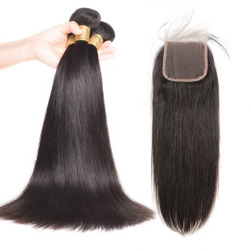 Straight Hair Bundles With Human Hair Lace Closure