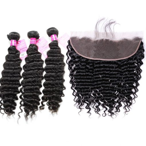 deep wave bundles with lace frontal