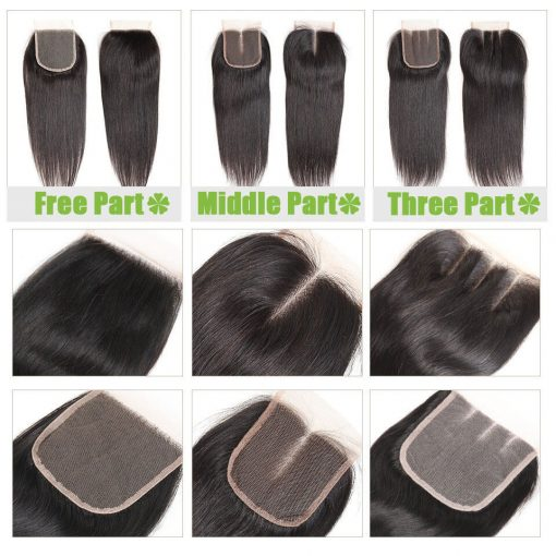 straight human lace closure Description