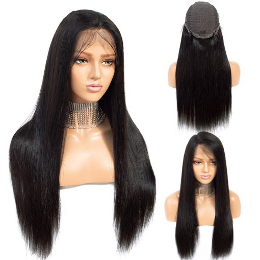 human hair straight lace front wig 1