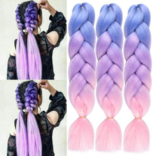 Kanekalon Jumbo Braiding Hair Ombre Colorful Blue-Purple-Pink