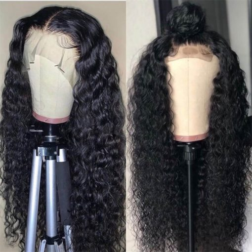 human hair deep wave lace front wig