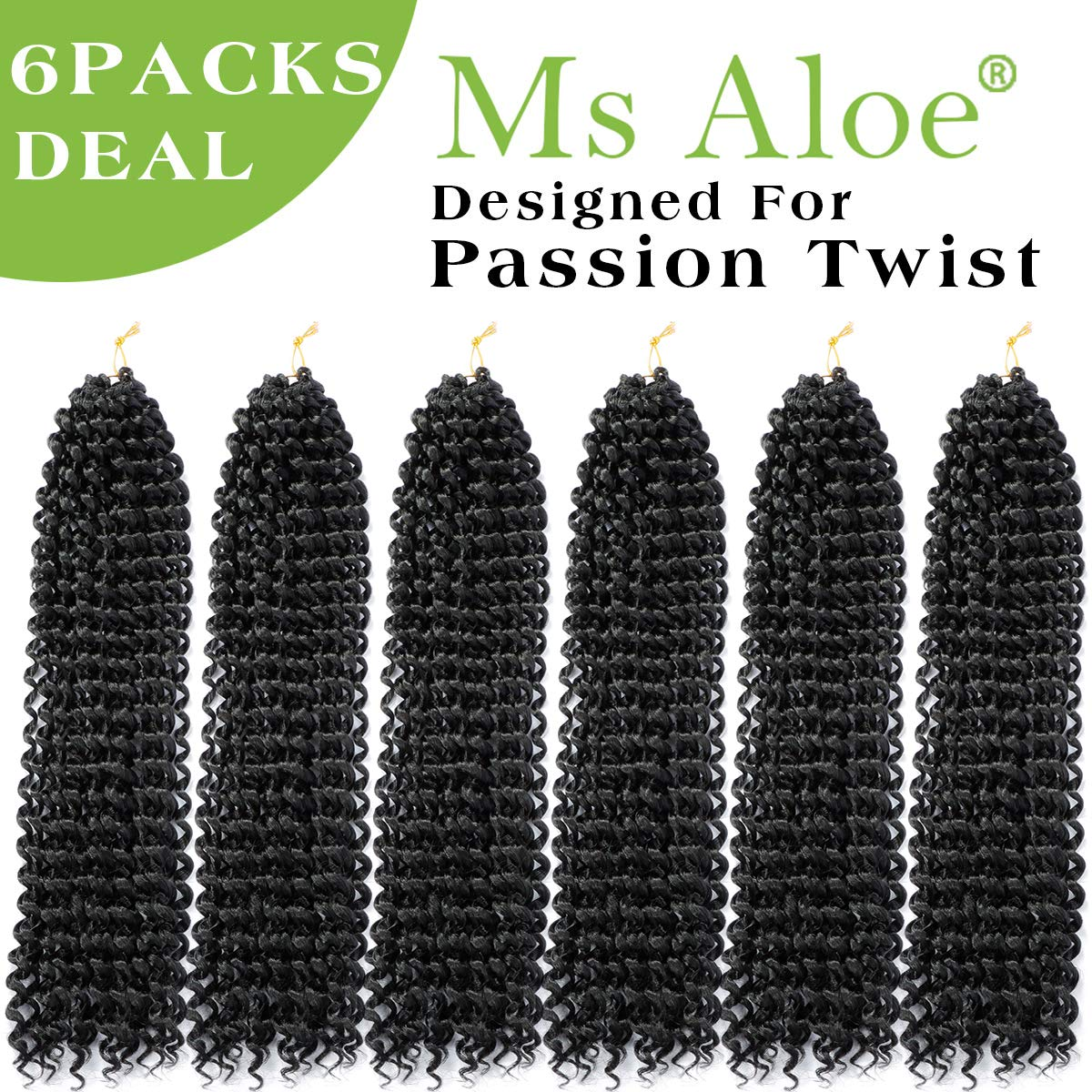 Passion Twist Hair 18inch Black Water Wave Crochet Hair